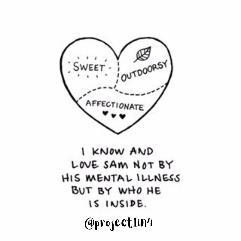 """A heart with three sections reading """"Sweet,"""" :Outdoorsy,"""" and """"Affectionate."""" Beneath the heart it says """"I know and love Sam, not by his mental illness, but by who he is inside."""" Beneath that is a link to Project 1 in 4, @project1in4"""